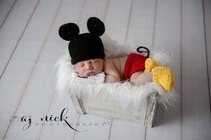 Newborn Mickey Mouse Photo prop by MilkMoneyCrochet on Etsy