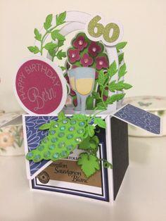 Wine cask box card. Box base from #svgcuts summer box card kit