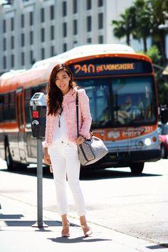 Tweed Jacket: Storets(c/o) Skinny Jeans: J.Crew Matchstick Jean in White Denim Tee: CJ by Cookie Johnson(c/o) Shoes: Tildon Bag: Louis Vuitton Sunglasses: Stella McCartney Watch: D Ring:Foxy Original(c/o)