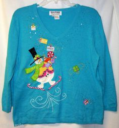 Blue PL L P Sweater Snowman Jack B Quick Candy Canes Presents Ugly Christmas | eBay