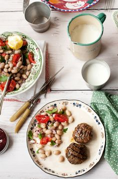 Meatballs and Bean Salad by Gourmet Kitchen Tales
