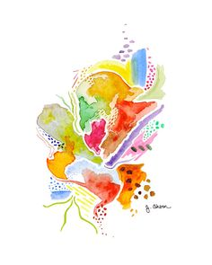 """This is a reproduction print of my original watercolor painting, """"Colorful Abstract."""" It was inspired by whimsical, playful, and fun thoughts. There will only be 150 reproduction prints made of this p"""