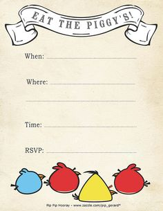 Free printable angry bird party invitations: http://www.squidoo.com/angry-birds-party-ideas