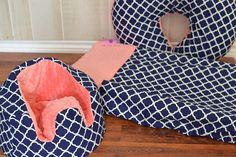 Navy and Coral Minky Bumbo Seat Cover by LittleAngelsEmporium