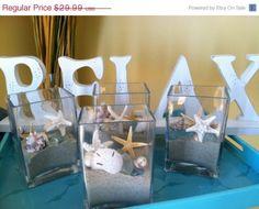 Real Shells Sand Starfish Seaglass Squared Glass Vase Home Decor Centerpiece Beach Display