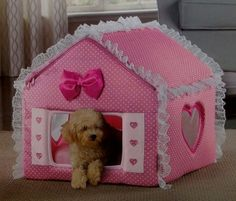 Luxury PINK Travel Indoor Covered Foldable Cat Dog Bed House w Mesh Windows | eBay
