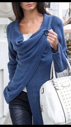 Stitch Fix Fall Fashion! - Blue Single Button Tassel Asymmetrical Hem Coat. More