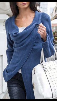 Stitch Fix Fall Fashion!  - Blue Single Button Tassel Asymmetrical Hem Coat.