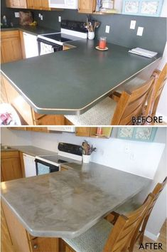 Kitchen Countertops Remodeling Concrete coutertops over laminate countertops - step-by-step - DIY Video Diy Concrete Countertops, Outdoor Kitchen Countertops, Paint Laminate Countertops, Concrete Floors, Laminate Worktops, Green Countertops, Kitchen Laminate, Concrete Table Top, Concrete Lamp