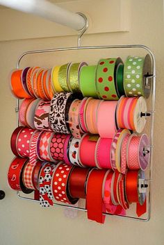 Use a Pants hanger for Ribbon Storage ! Genius !