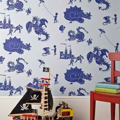 ''ere be dragons' dragon wallpaper by paperboy wallpaper | notonthehighstreet.com