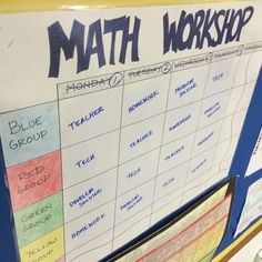 6th grade math workshop rotation board to help keep track of math centers. Students are in four groups and travel to four different centers each class period. Check out my blog to see more about how I use math workshop in my 6th grade classroom!