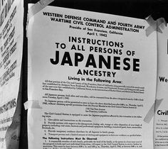 Dorothea LANGE :: April 11, 1942 - Posted notice informing people of Japanese ancestry of imminent relocation rules re fears of treason and spying during early years of WWII.