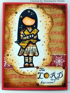 inspiredstamps.blogspot.com, hymn girls stamp, vintage christmas stamp, christmas card, copic, bazzill Vintage Christmas, Christmas Cards, Copic, Stamps, Girls, Blog, Character, Inspiration, Design