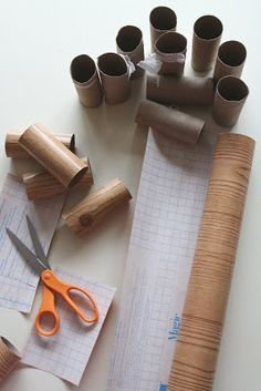 paper logs to hold clues for the treasure hunt. LOVE! from WhiMSy love: Woodland Gnome Birthday Party!!