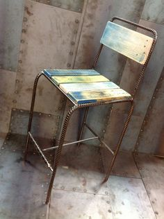 Reform Furniture Line is part of Bar stools - Study of rebar and palette wood chairs Reform furniture line which was made over a two year period Welded Furniture, Steel Furniture, Pallet Furniture, Furniture Design, Wood Steel, Wood And Metal, Welding Projects, Wood Projects, Welding Crafts