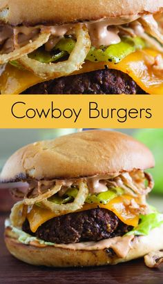 Cowboy Burger Recipe with Grilled Pickles and Crispy Onion Straws - Take your b. - Cowboy Burger Recipe with Grilled Pickles and Crispy Onion Straws – Take your backyard barbecue - Gourmet Burgers, Beef Burgers, Burger On Grill, Gourmet Burger Kitchen, Veggie Burgers, Grilling Recipes, Meat Recipes, Cooking Recipes, Sandwich Recipes