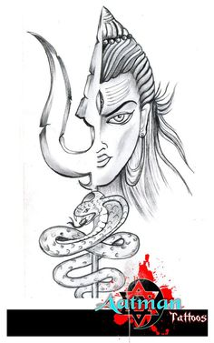 Lord Shiva With Trishul And Snake Tattoo Design By Bhavith Narayan Pencil Sketch Images, Pencil Art Drawings, Art Drawings Sketches, Drawing Art, Girly Drawings, Sketch Drawing, Drawing Reference, Angry Lord Shiva, Lord Shiva Sketch