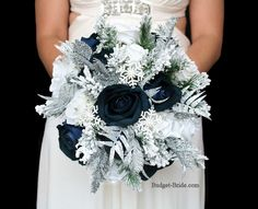Midnight Marine Blue Wedding Bouquet with silver green and snowflakes