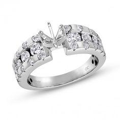 Vow to Wow Collection, 14k White Gold Round I1 Diamond Semi-Mount Ring, 1 ctw