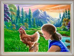 """'""""I love you💝Please don't eat my mommy"""" painted by Jean Cathcart. 😇😇🐓🐓🐓🐓Good morning Neybers!!😊😊😊❤️❤️❤️❤️❤️' created in #neybers"""