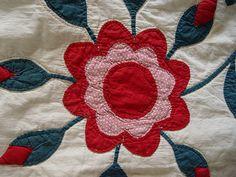 Detail, RARE 1800 Antique Handmade Rose of Sharon Applique Quilt Stuffed Red Rosebuds   eBay, i_spy_design