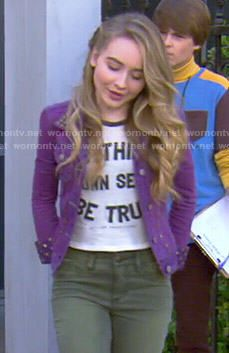 Maya's To Thine Own Self Be True top and purple studded denim jacket on Girl Meets World.  Outfit Details: http://wornontv.net/48997/ #GirlMeetsWorld