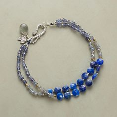 BEST OF THE BLUES BRACELET--Two strands strike a bluesy note with glassy lapis coin beads and iolite and labradorite accompaniments. Handcrafted exclusive with sterling silver and brass beads