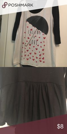 Sparkly heart top Black 3/4 sleeves.. cute ruffle detail on the back Style & Co Tops Tunics