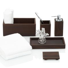 Decor Walther Wood bath accessories, dark thermo-ash | Artedona.com