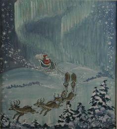 Tasha Tudor::Santa and His Reindeer on Christmas Eve. Watercolor & Gouache Painting ~