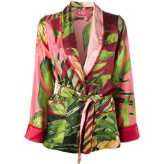 For Restless Sleepers jungle print kimono jacket (318.190 HUF) via Polyvore featuring outerwear, jackets, print jacket, silk jacket, multi colored jacket, kimono jacket and pattern jacket