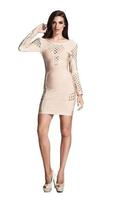 abfc5a09686 ... DressTinaholy CoutureOne Honey Boutique. Aeon Cut Out Bodycon Dress. A  gorgeous long sleeve bandage dress in beige-cocoa nude. It s stunning cage  cut