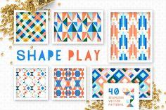 (Super Fun) Geometric Patterns | Pre-Designed Illustrator Graphics ~ Creative Market Vector Pattern, Pattern Design, Geometric Shapes, Geometric Patterns, Tile Patterns, Shape Patterns, Texture Web, Web Design, Graphic Design