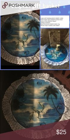 Dolphins gift basket Large wall hanging plastic dolphin  plate  Hand made native dolphins photo book Lenox crime dolphins figure Dolphin necklace Blue Rhinestone dolphin belly ring  Will be wrap in plastic with ribbon Accessories
