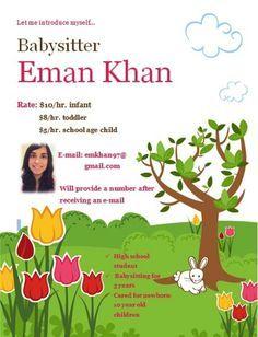 LittleGirlie Babysitting custom tear-sheet flyer   Custom flyers ...