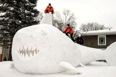 This snow shark is, in a word, JAW-some.