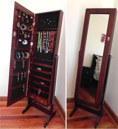 Jewellery organizer behind a mirror - got one similar to this for xmas.  Love it!!