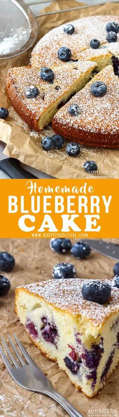This Homemade Blueberry Cake is our family's favorite recipe. It's quick to whip up, it's soft and light and perfect with a cup of your favorite tea or coffee. Grandmother's recipe that is always a hit. #blueberrycake #baking #dessert #recipe #cake #blueberry #homemade #howtomake #simple #easy #moist #fromscratch via @happyfoodstube