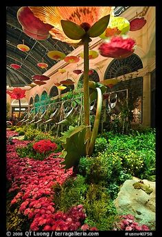 Giant watering cans in indoor garden, Bellagio Hotel. Las Vegas, Nevada, USA
