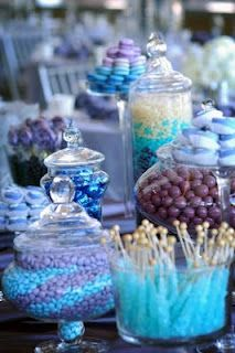 purple and blue candy buffet bar love the swirl look and the mini rock candy ! so cute !