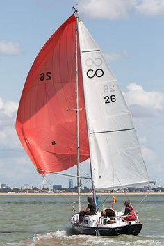 The Contessa 26 yacht 'Genesee' racing in the Solent during Cowes Week 2014.