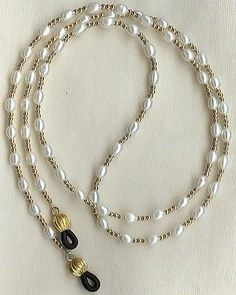 Eyeglass Chain Holder Gold White Pearl Necklace Lanyard Replaceable Ends Eyeglass Chain Holder gf White Pea. Bead Jewellery, Pearl Jewelry, Beaded Jewelry, Beaded Bracelets, Beaded Necklace, Lanyard Necklace, Jewellery Holder, Necklace Holder, Jewelry Sets