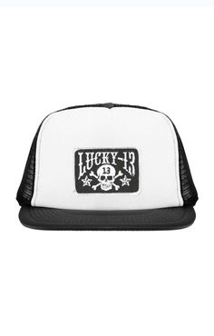 410c5700f209c The SKULL STARS Flat Bill Trucker Hat - BLACK WHITE