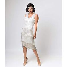 Unique Vintage White Beaded Gigi Chiffon Fringe Flapper Dress ($196) ❤ liked on Polyvore featuring dresses, white, white chiffon dress, vintage 1920s dresses, vintage white dress, flapper dress and champagne cocktail dress