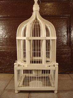 White wood and wire bird cage- vintage, beautiful, solid- FREE SHIPPING by HeathersCollectibles on Etsy