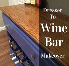 Do you have an old dresser that is looking for a new lease on life? How about turning your old, drab dresser into a funky wine bar. Dresser Bar, Bathroom Plans, Basement Makeover, Wine Cabinets, Italian Wine, Wine Storage, Storage Ideas, Wine Cellar, Furniture Makeover