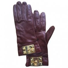 Hermes Leather Gloves HERMÈS (445 CAD) ❤ liked on Polyvore featuring accessories, gloves, hermes gloves, burgundy gloves, brown gloves, hermès and brown leather gloves