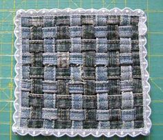 Recycling old jeans into a woven rug (suitable for children) tutorial - made bigger it would make a lovely washable floor rug for areas that get heavy use.
