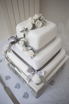 Square Ribbon Cake Modern Classic Grey White Chic Elegant Wedding http://www.chanelleknapp.com/